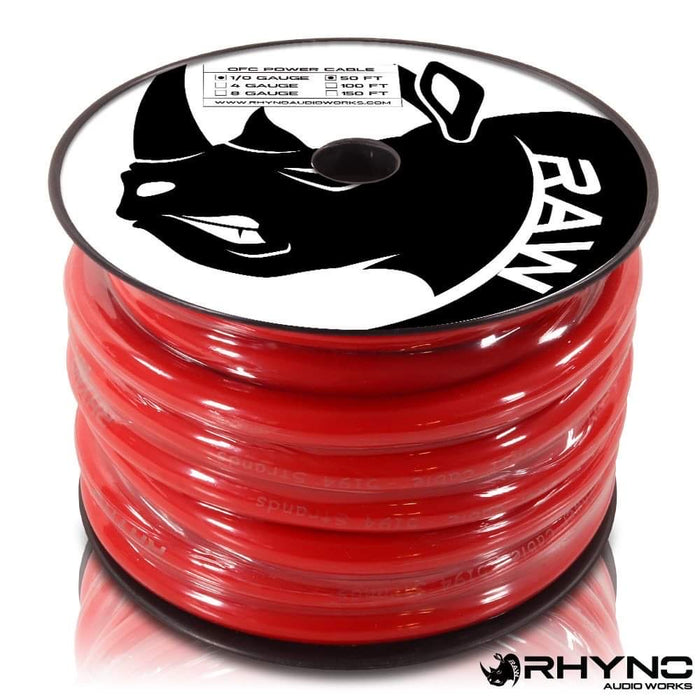 RHYNO 1/0 Gauge Twisted OFC Power Cable [50ft Spool]
