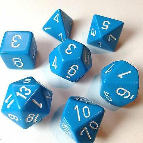 Opaque Polyhedral Dice Set - Light Blue & White-Chessex-Game Kings