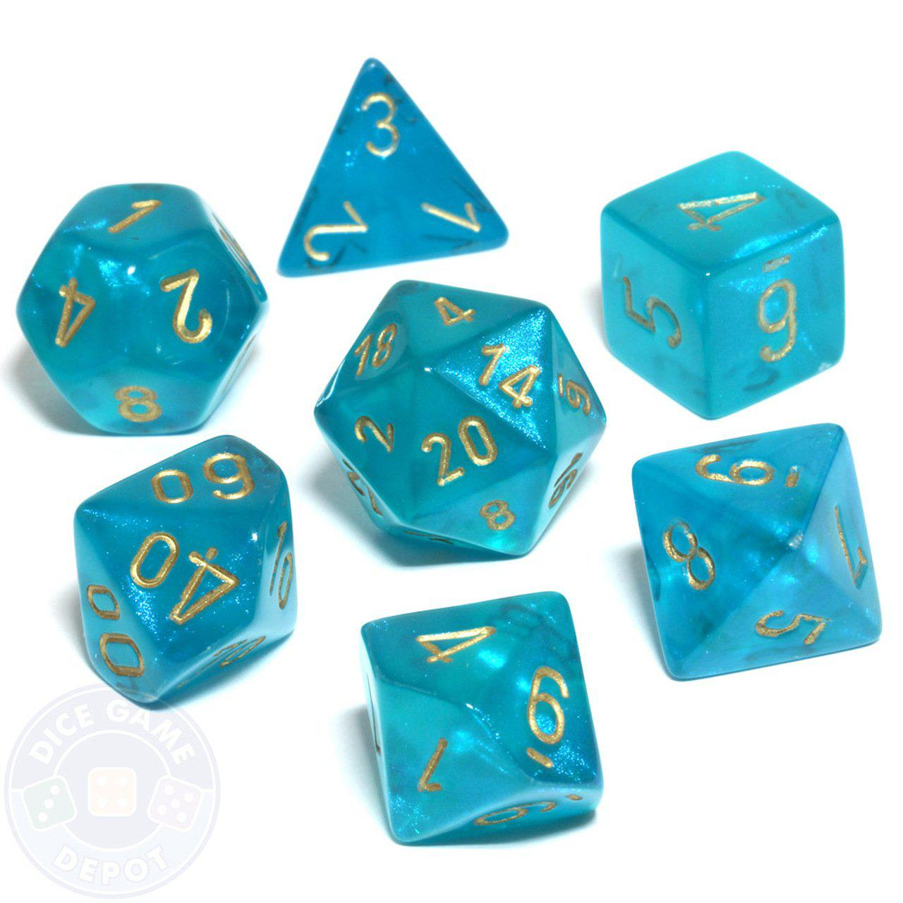Borealis Polyhedral Dice Set - Teal & Gold-Chessex-Game Kings
