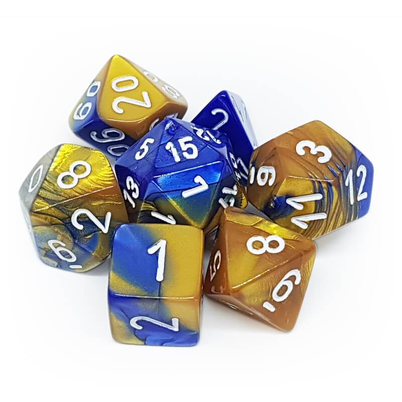 Gemini Polyhedral Dice Set - Blue Gold White-Chessex-Game Kings
