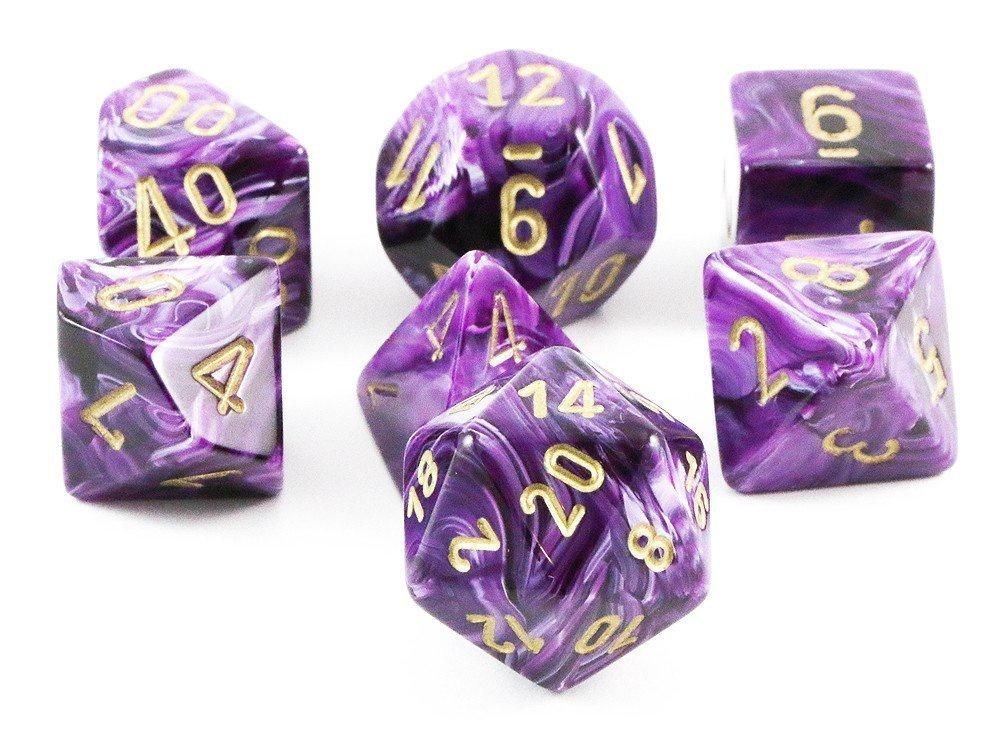 Vortex Polyhedral Dice Set - Purple & Gold-Chessex-Game Kings