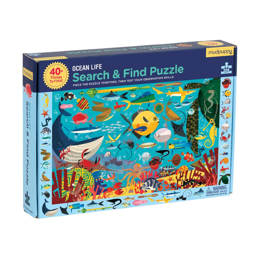 Ocean Life Search and Find Puzzle | 64pc-Mudpuppy-Game Kings