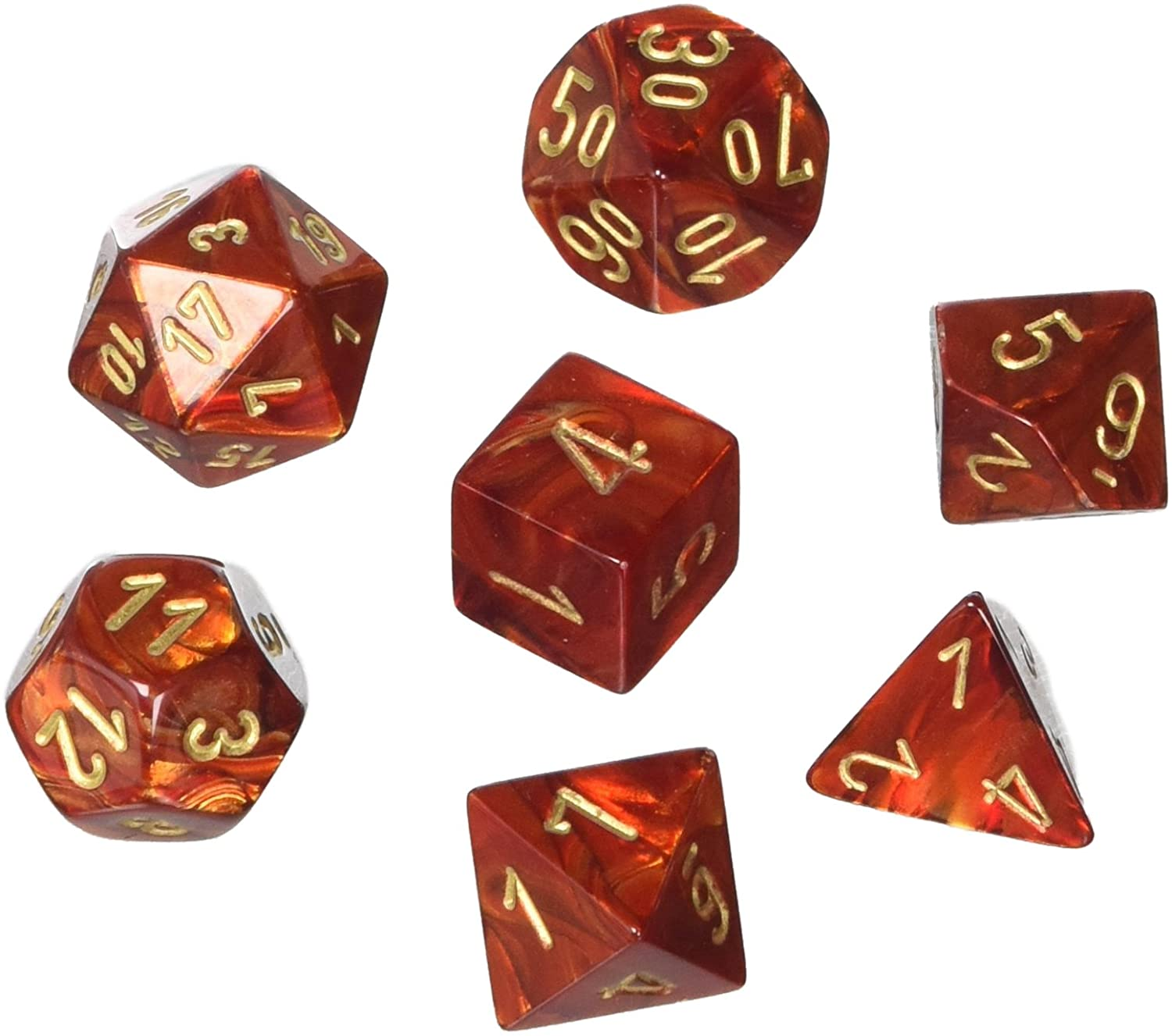 Scarab Polyhedral Dice Set - Scarlet & Gold-Chessex-Game Kings