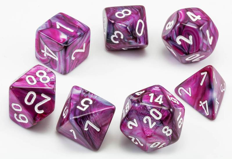 Lustrous Polyhedral Dice Set - Amethyst White-Chessex-Game Kings