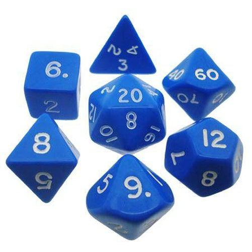 Opaque Polyhedral Dice Set - Blue & White-Chessex-Game Kings