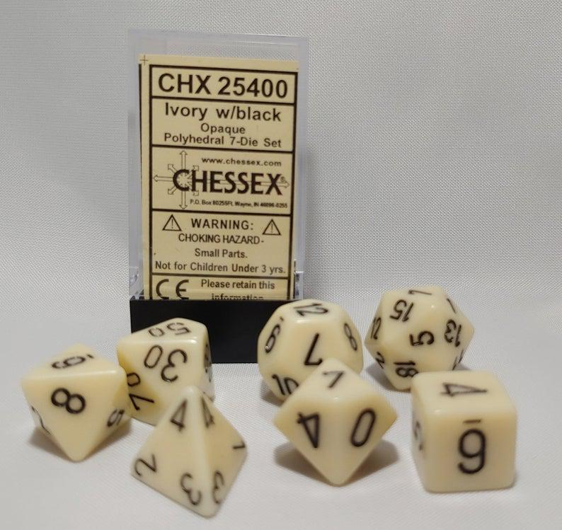 Chessex Dice - Opaque Ivory & Black-Chessex-Game Kings