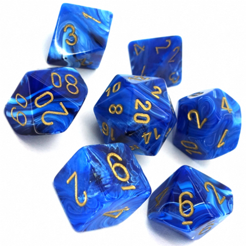 Vortex Polyhedral Dice Set - Blue & Gold-Chessex-Game Kings