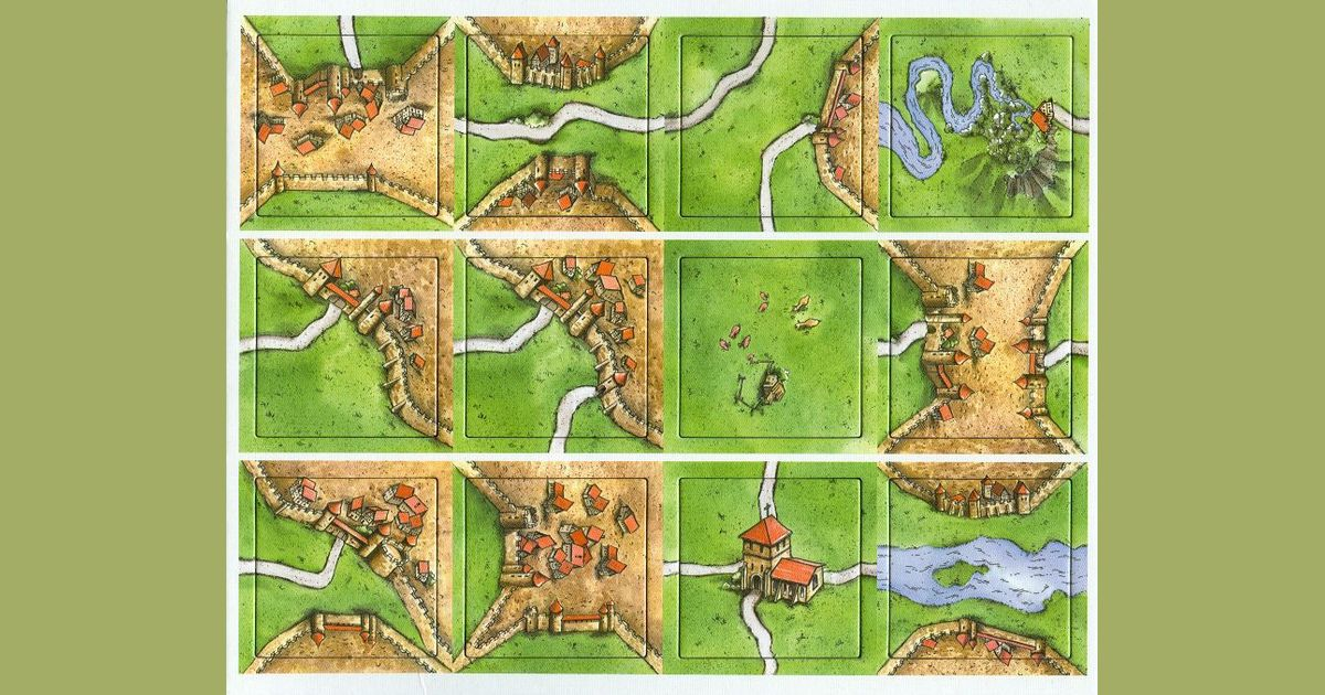 Carcassonne Game Tiles - 12 Count-Rio Grande Games-Game Kings