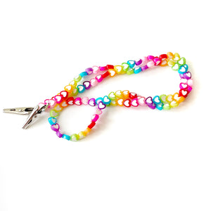 Bright Rainbow Hearts BBBeaded Mask Chain