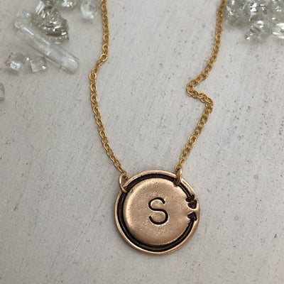 Arrow Coin Initial Necklace - IsabelleGraceJewelry