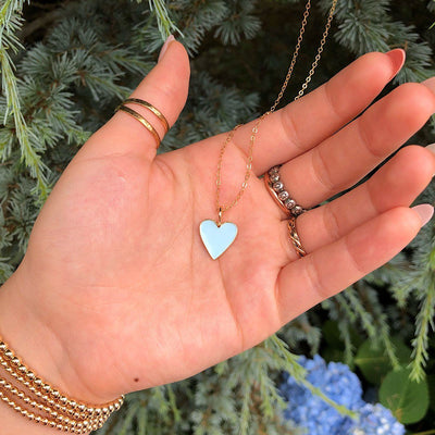 Baby Blue Enamel Heart Necklace