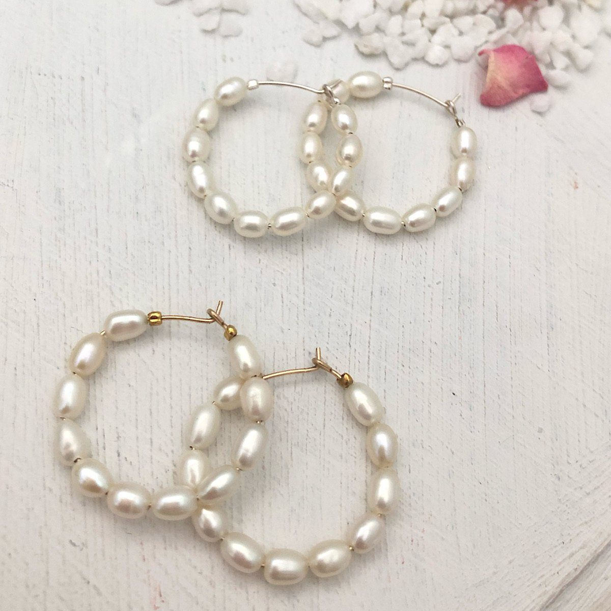 Baby Pearl Hoop Earrings