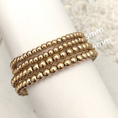 Classic 3mm Gold Filled Bead Bracelet