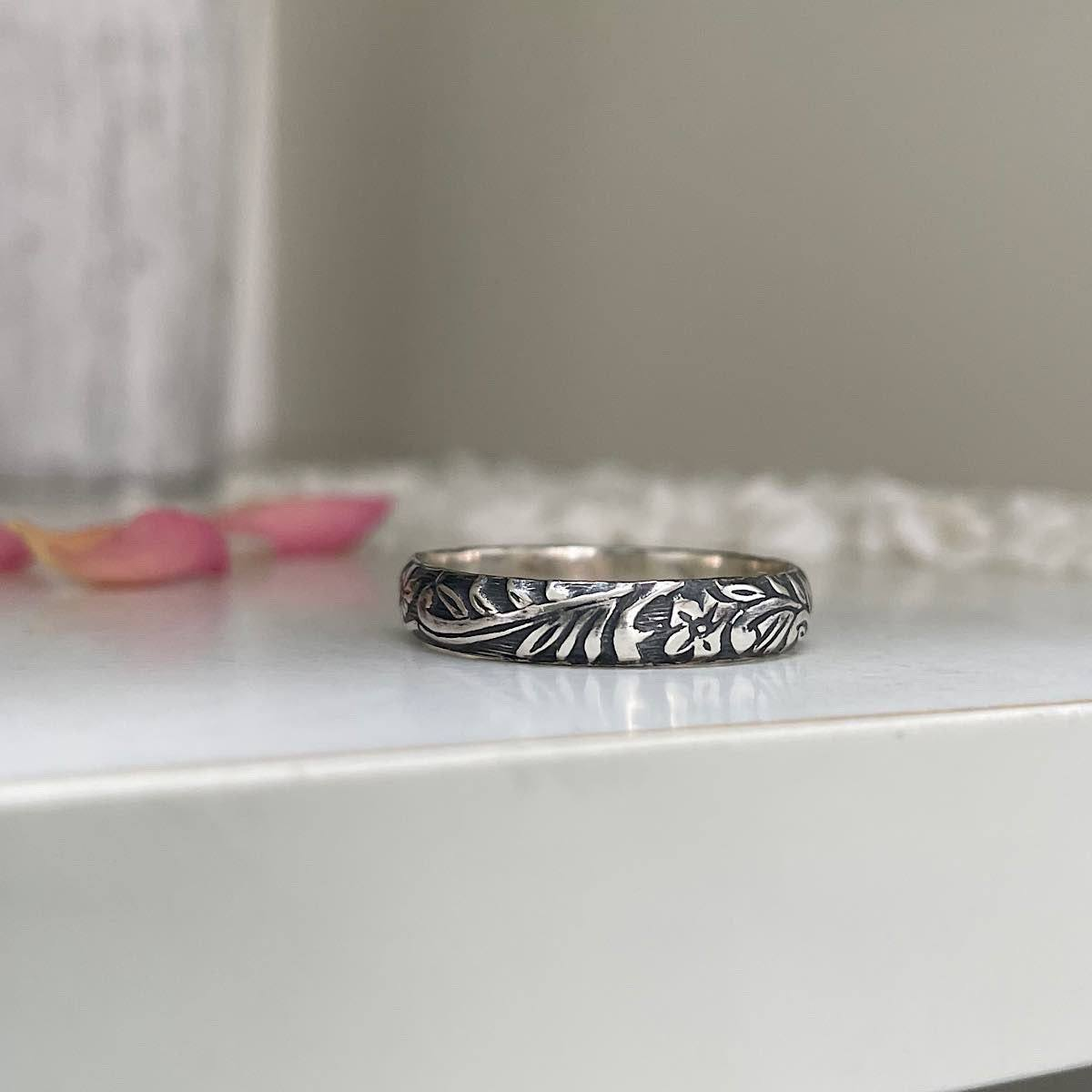 Cora Vintage Band Ring Sterling Silver