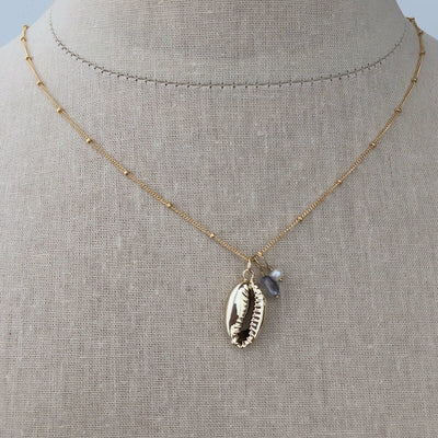 Cowrie Shell Charm Necklace - IsabelleGraceJewelry