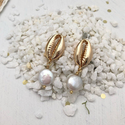 Cowrie Shell Coin Pearl Earrings