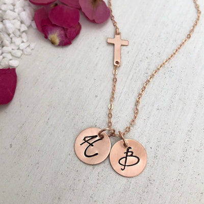 Cross and Initial Charm Necklace - IsabelleGraceJewelry