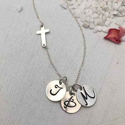 Cross and Initial Charm Necklace