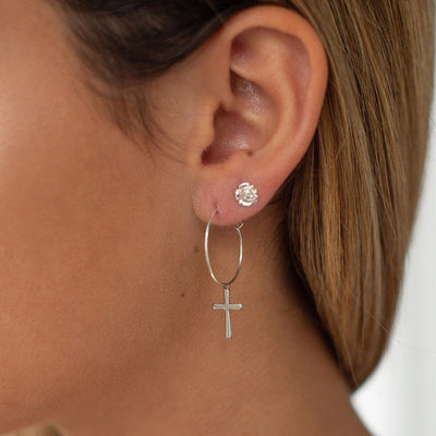 Cross Hoop Earrings - IsabelleGraceJewelry