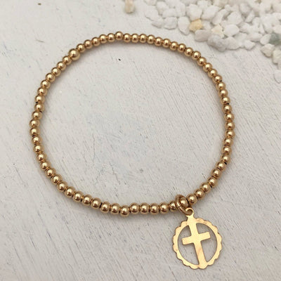 Cross Outline Bead Bracelet Gold Fill