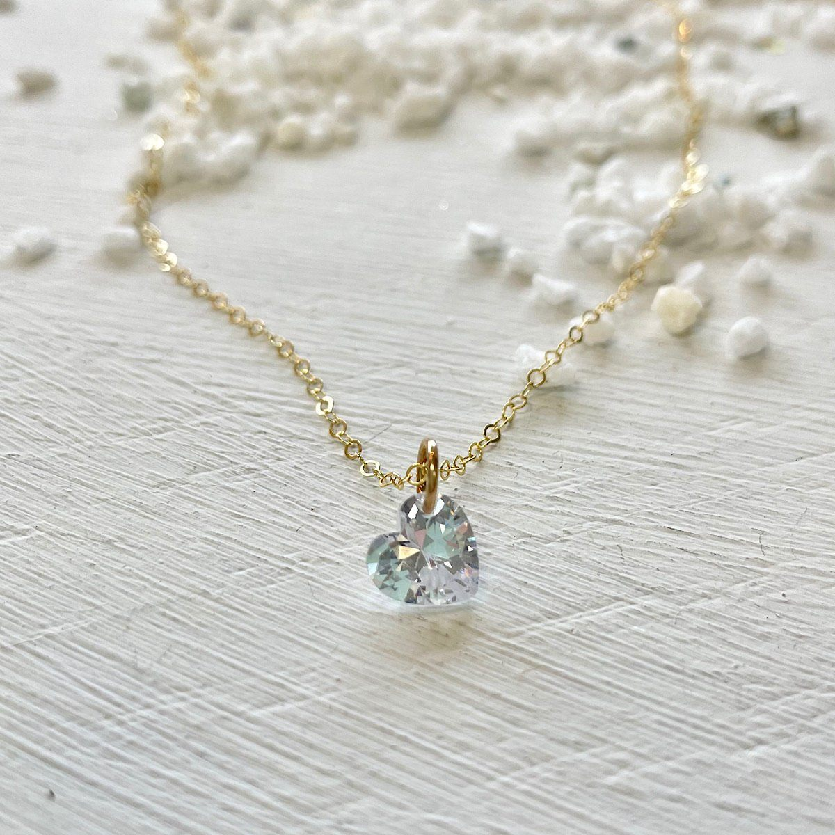 Crystal Heart Pinprick Necklace