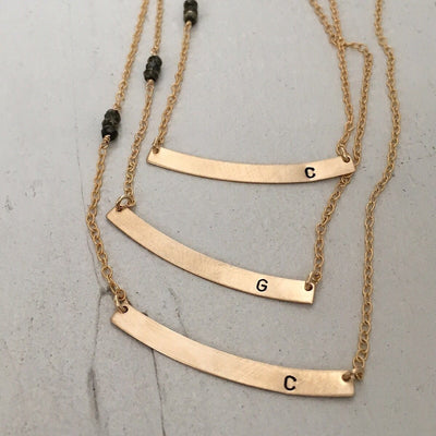 Curved Initial Bar Necklace - IsabelleGraceJewelry