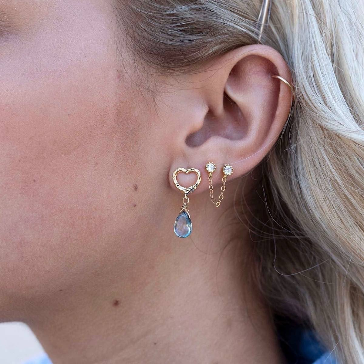 Dainty Heart Mystic Drop Earring