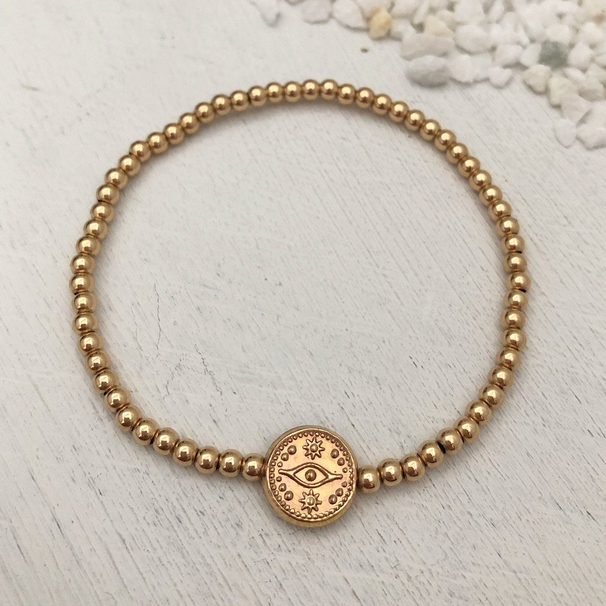 Evil Eye Bead Bracelet Gold Fill