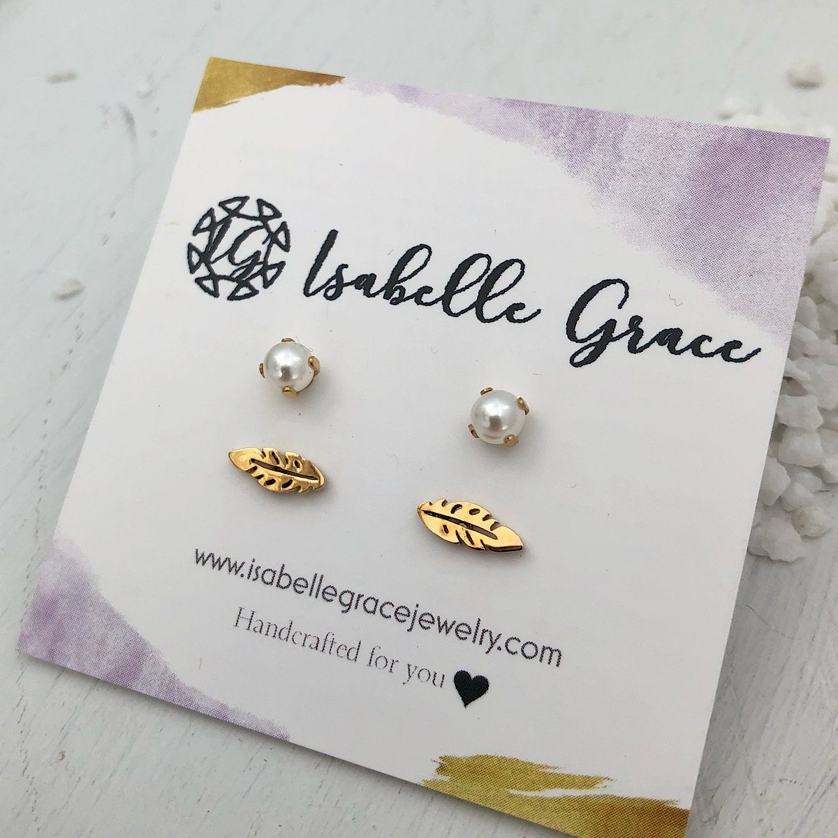 Feather and Baby Pearl Stud Set