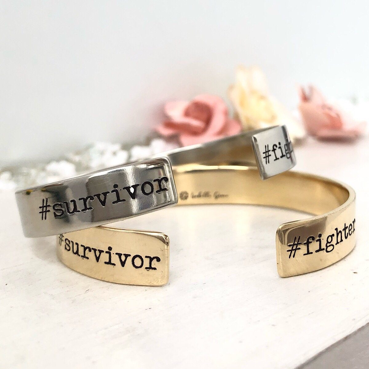 Fighter/Survivor Hashtag Cuff - IsabelleGraceJewelry