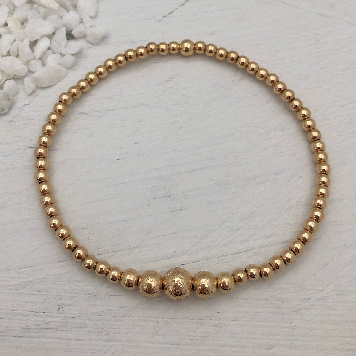Graduated Sparkle Bead Bracelet Gold Fill