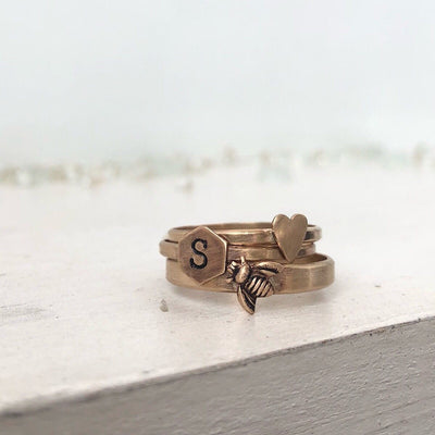 Initial Thin Band Ring - IsabelleGraceJewelry