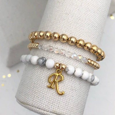 Letter Bead Braclet Stacking Set