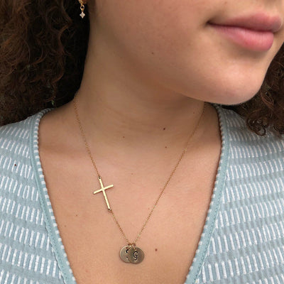 Long Cross and Initial Charm Necklace
