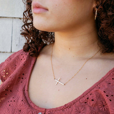 Long Side Cross Necklace