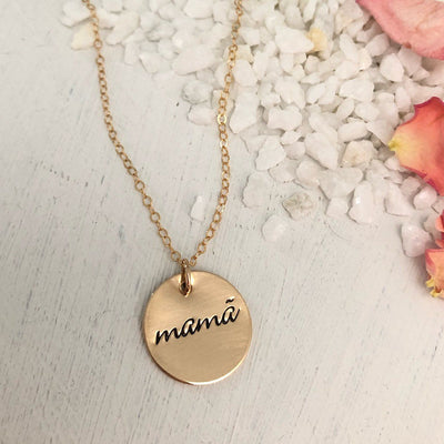 Mama Simple Disc Necklace