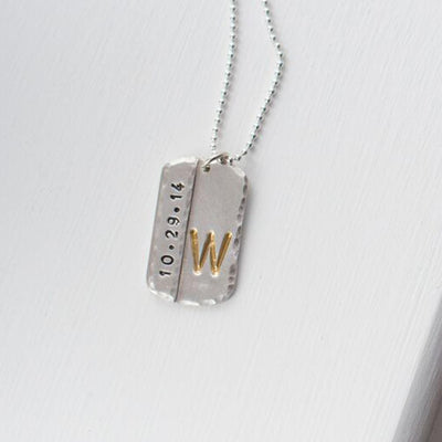 Mens Initial Dog Tag  - IsabelleGraceJewelry