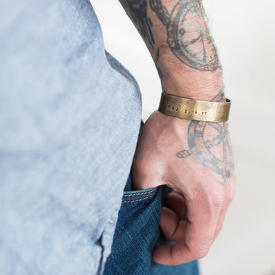 Men's Personalized Wide Cuff  - IsabelleGraceJewelry