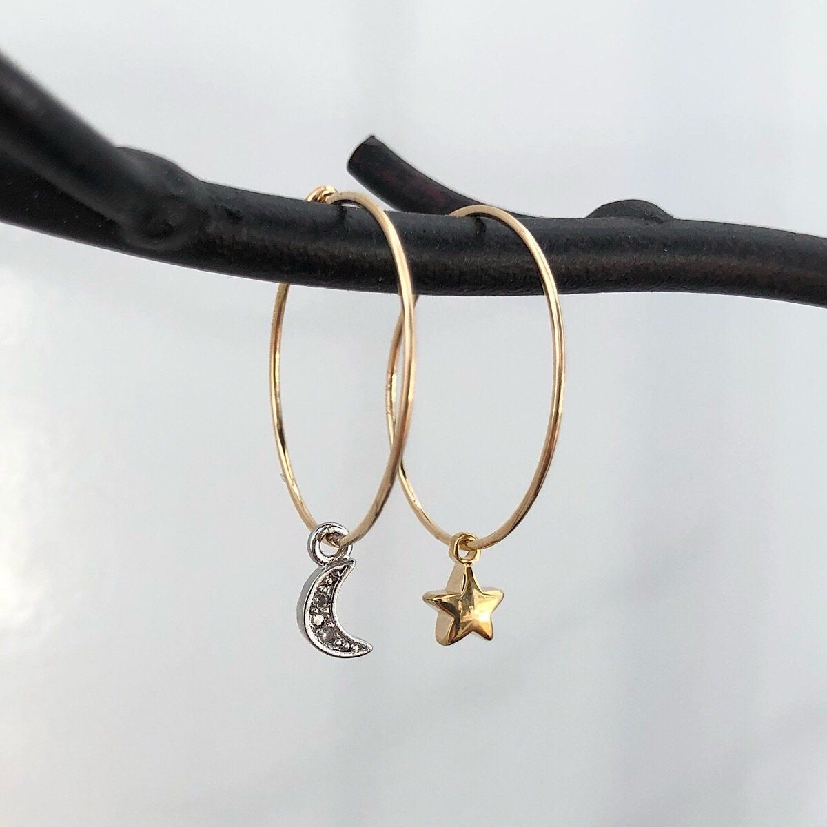 Moon and Star Hoop Earrings  - IsabelleGraceJewelry