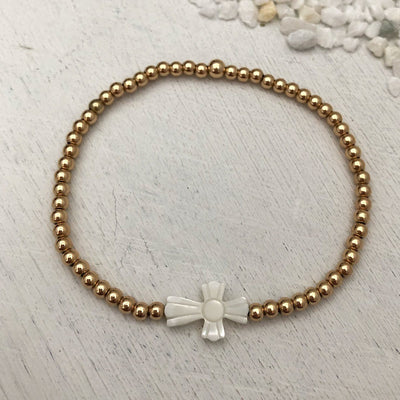 Mother of Pearl Cross Bead Bracelet Gold Fill