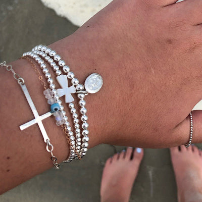 Mother of Pearl Cross Bead Bracelet Silver