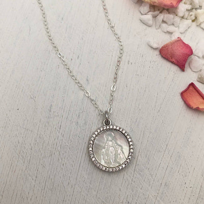 Mother of Pearl Miraculous Medal Necklace