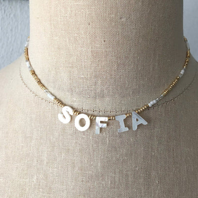 Mother of Pearl Name Necklace