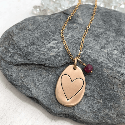 Open Heart Pebble Necklace  - IsabelleGraceJewelry