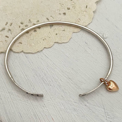 Open Thin Cuff with Puffy Heart Charm
