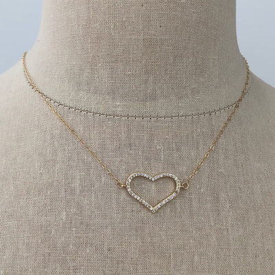 Pave Open Heart Necklace  - IsabelleGraceJewelry