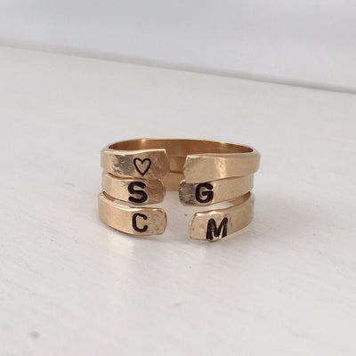 Personalized Open Cuff Ring Gold  - IsabelleGraceJewelry