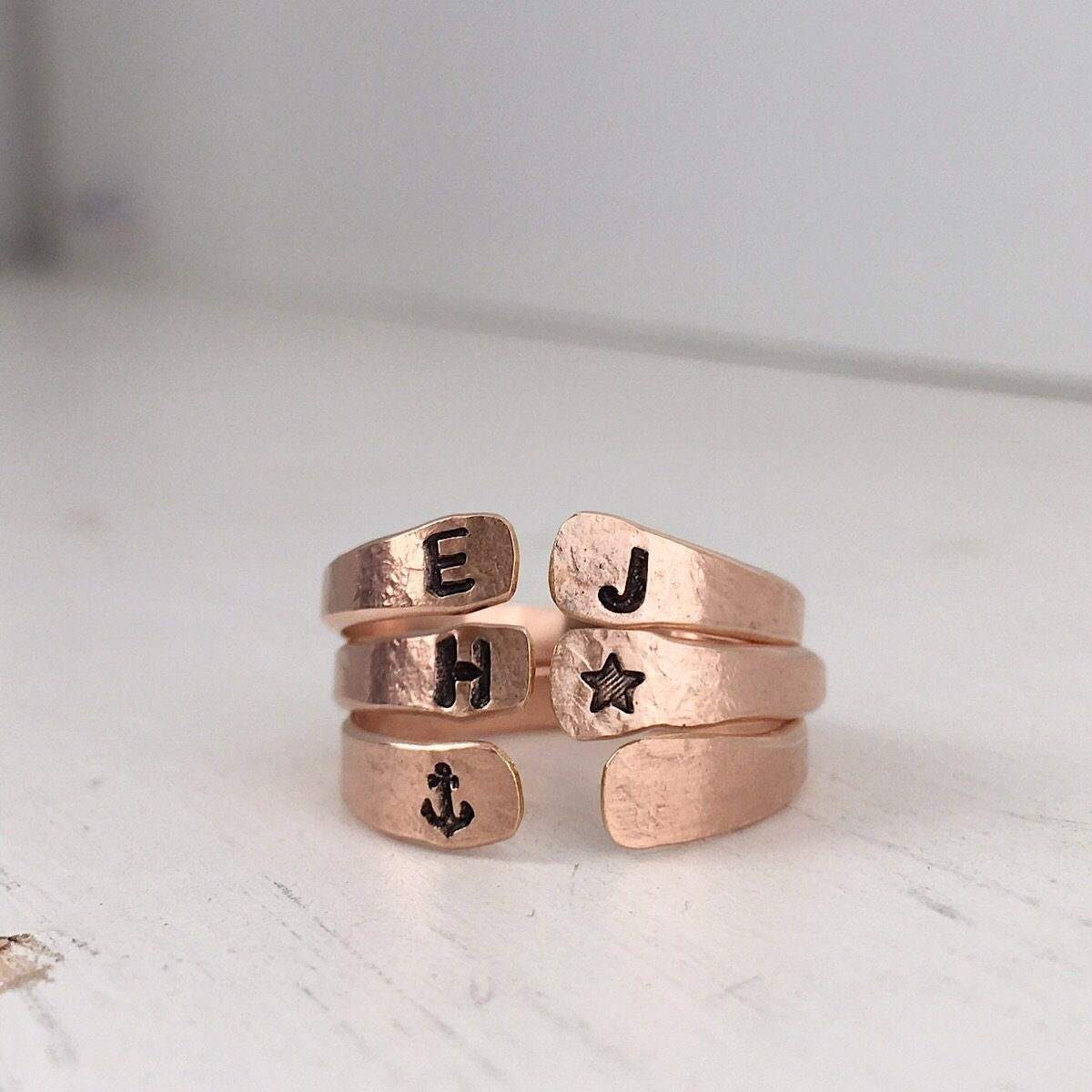 Personalized Open Cuff Ring Rose Gold  - IsabelleGraceJewelry