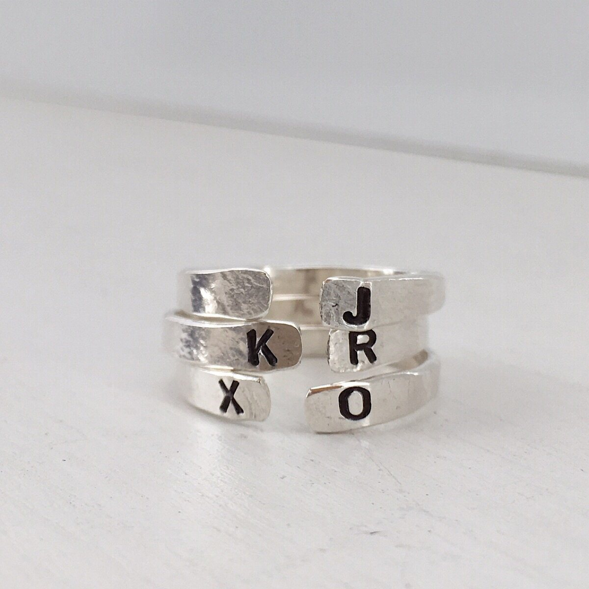 Personalized Open Cuff Ring Silver  - IsabelleGraceJewelry