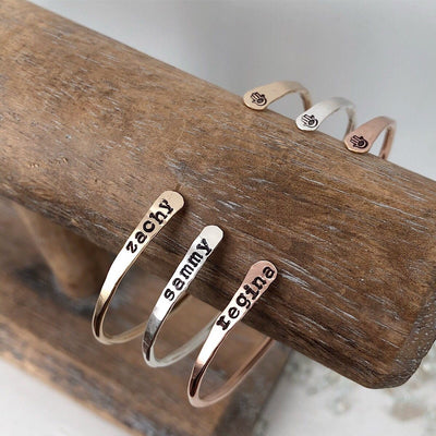 Personalized Open Thin Cuffs  - IsabelleGraceJewelry
